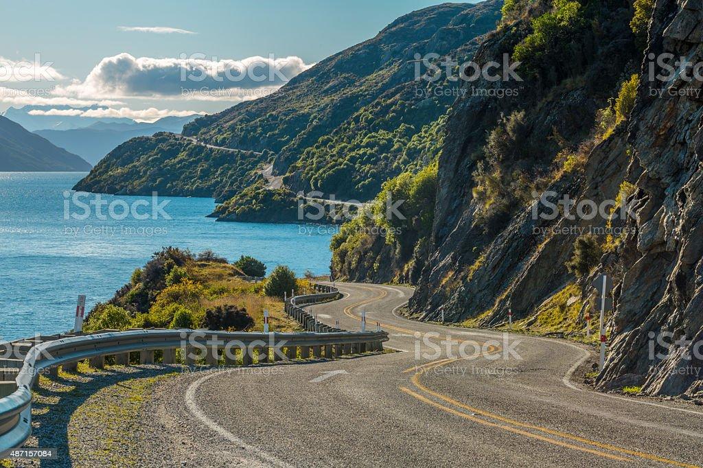 Road along Lake Wakatipu stock photo