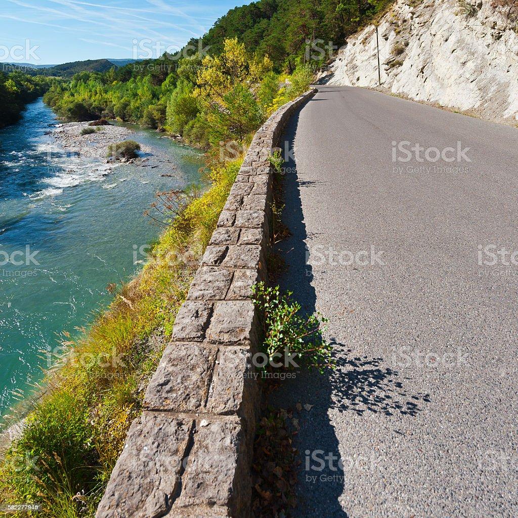 Road along River stock photo
