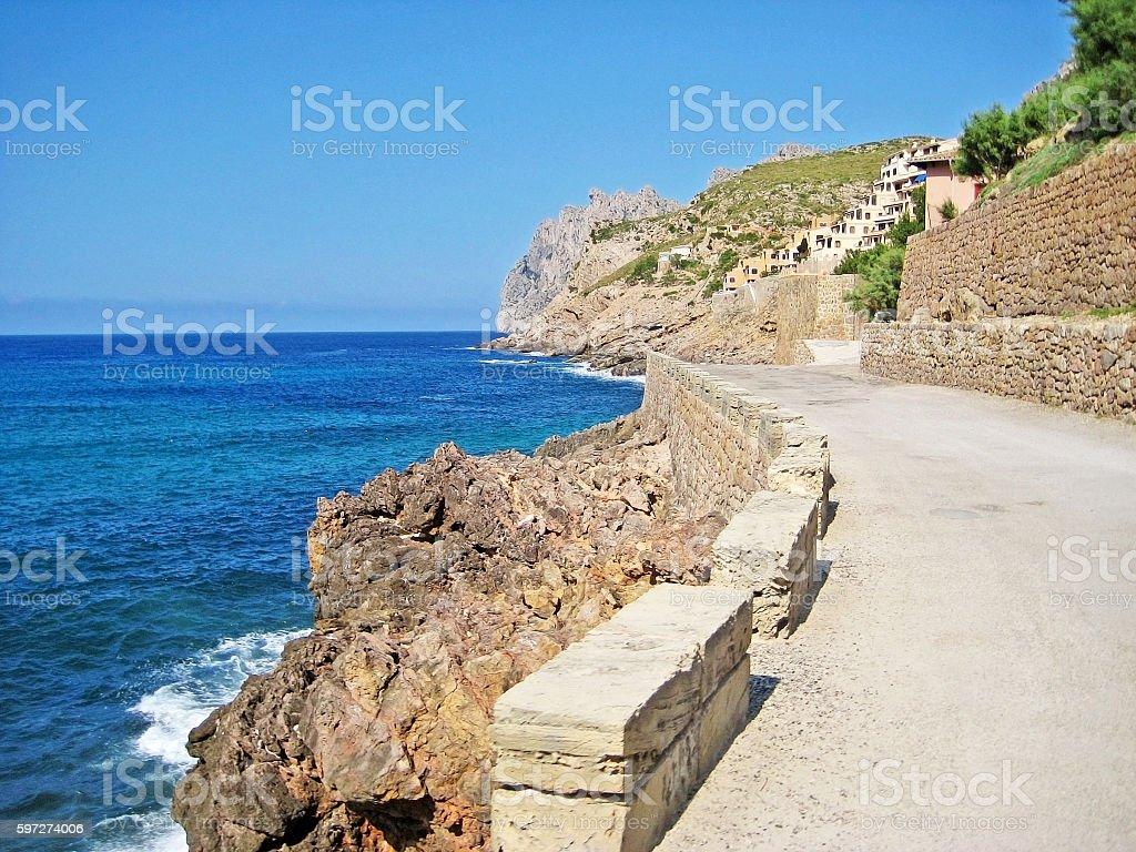 Road along the coast stock photo
