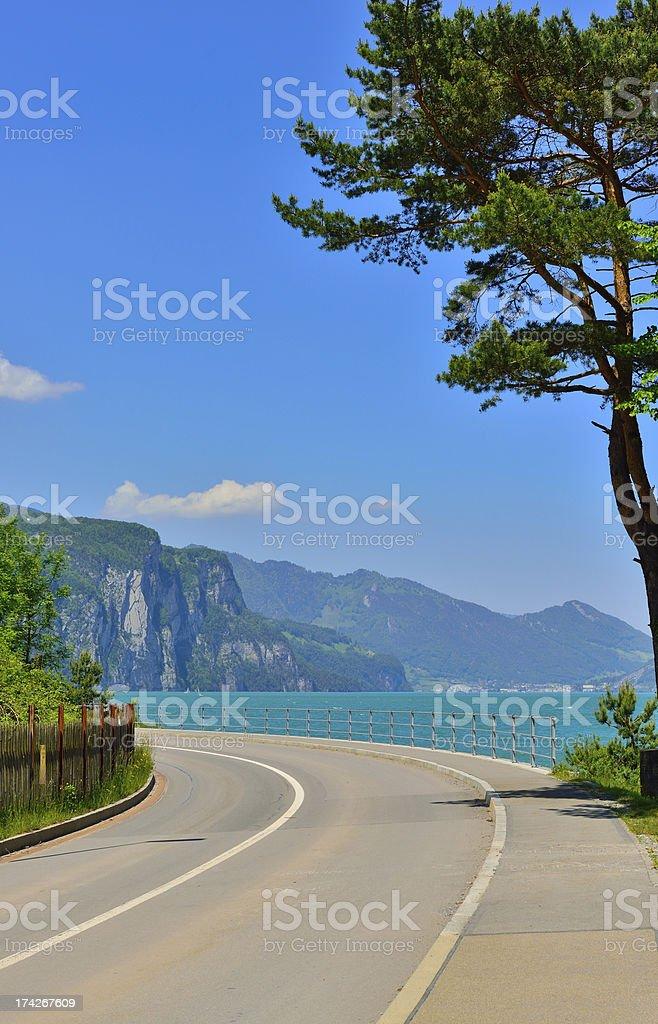 road along the lake royalty-free stock photo