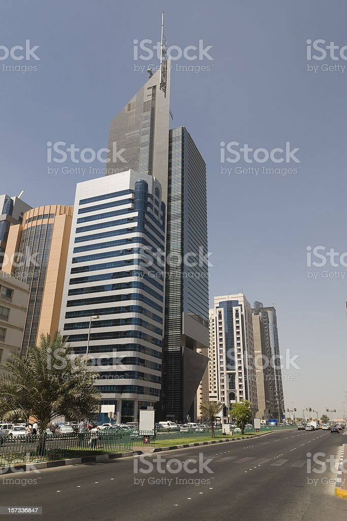 Road along the national bank of Abu Dhabi royalty-free stock photo