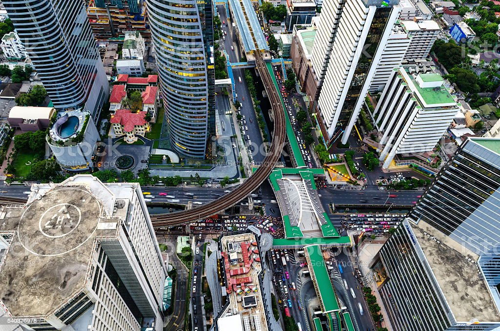 Road and BTS station in Bangkok, Thailand. stock photo