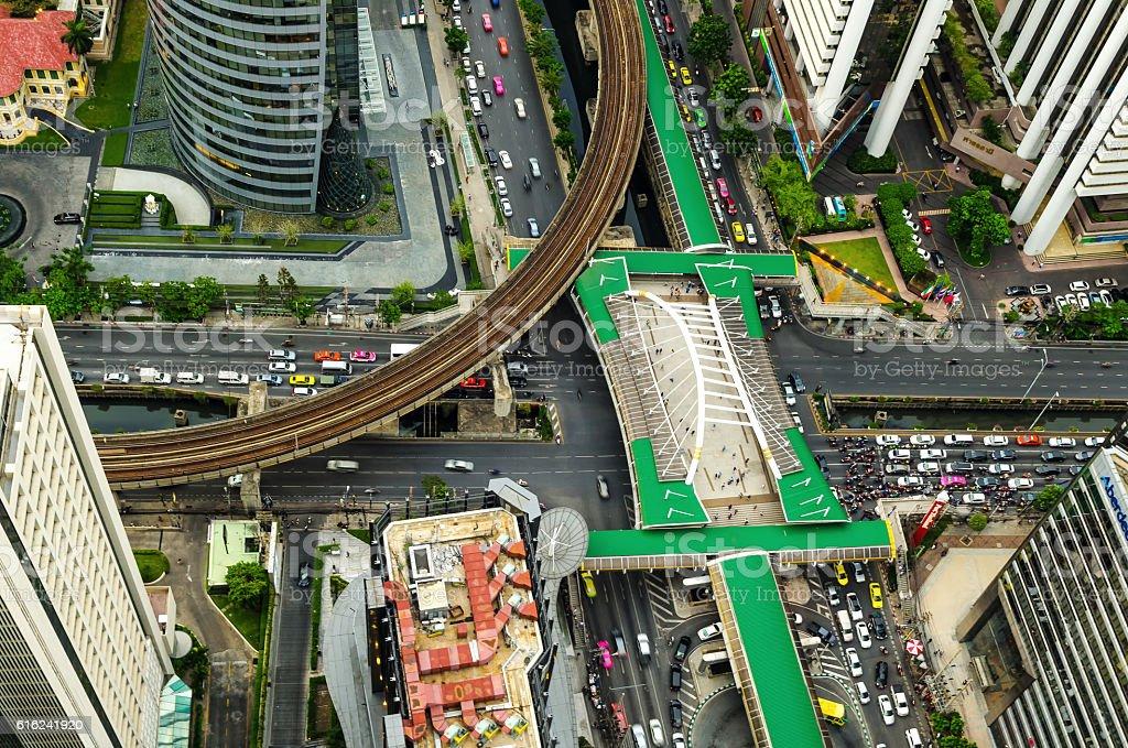 Road and BTS station in Bangkok, Thailand. stock photo