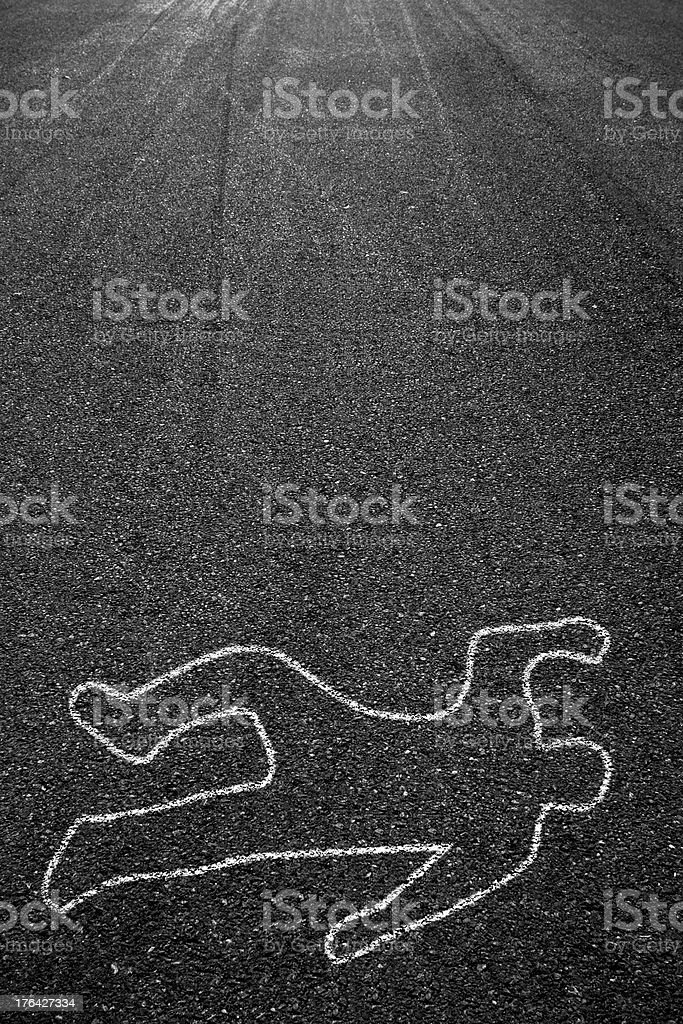 Road and death people chalk outline stock photo