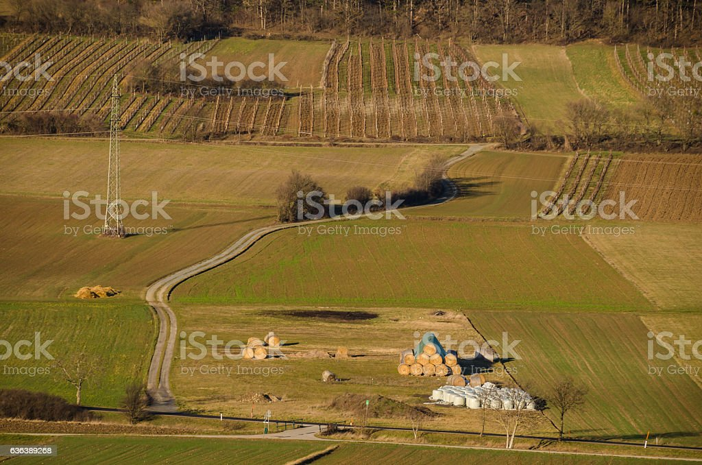 road and fields stock photo