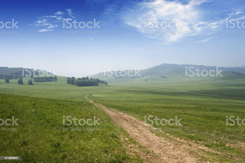 Road and grassland royalty-free stock photo