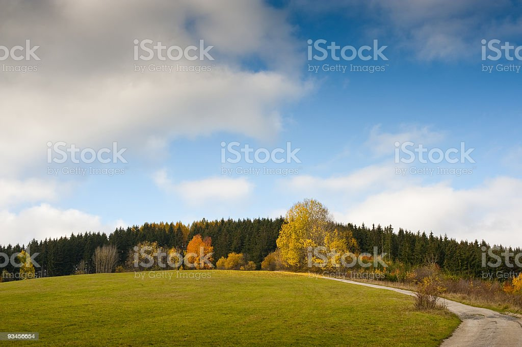 road and meadows royalty-free stock photo