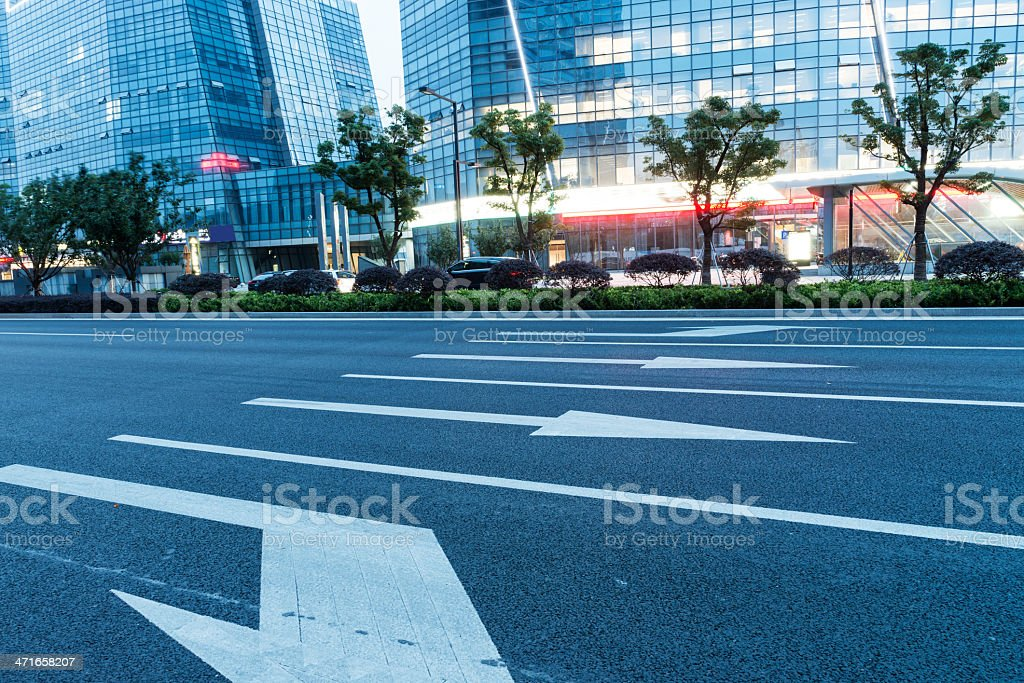 road and office building stock photo