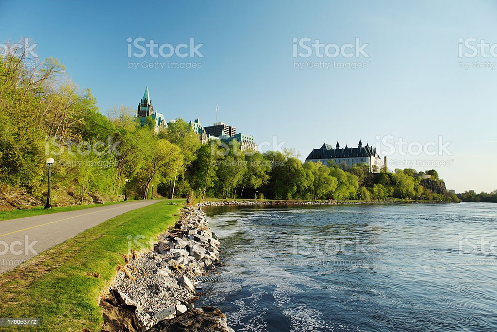 Road and river in the park royalty-free stock photo