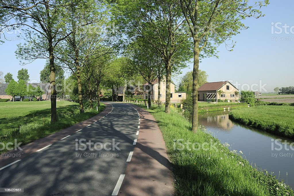 Road and rural landscape in the Netherlands royalty-free stock photo