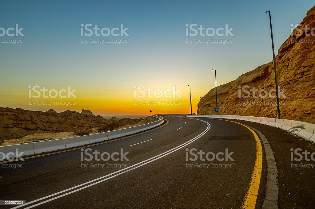 Road and Sunset, Al Ain stock photo