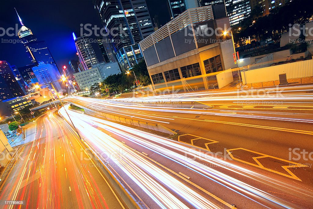Road and traffic in downtown area royalty-free stock photo