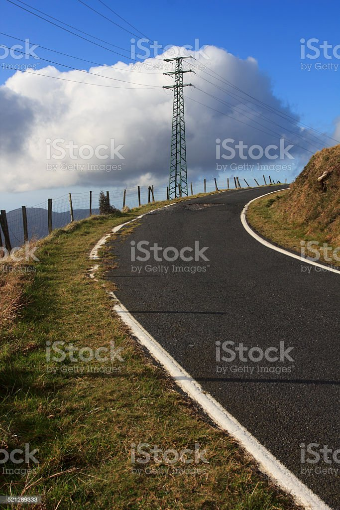 Road and utility pole stock photo