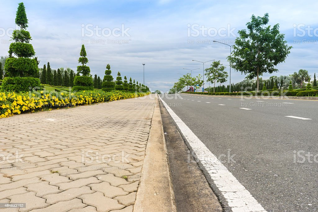 Road and walkway in Chiang mai 1 stock photo