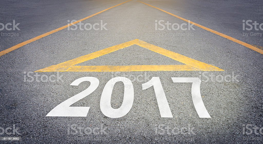 Road arrow forwarding 2017 business concept text stock photo
