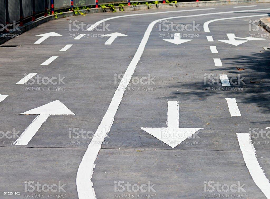 Road arrow sign stock photo