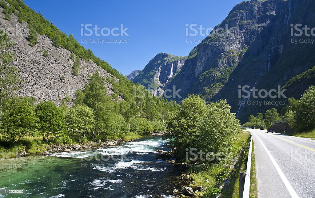 Road at Gudvangen, Norway stock photo