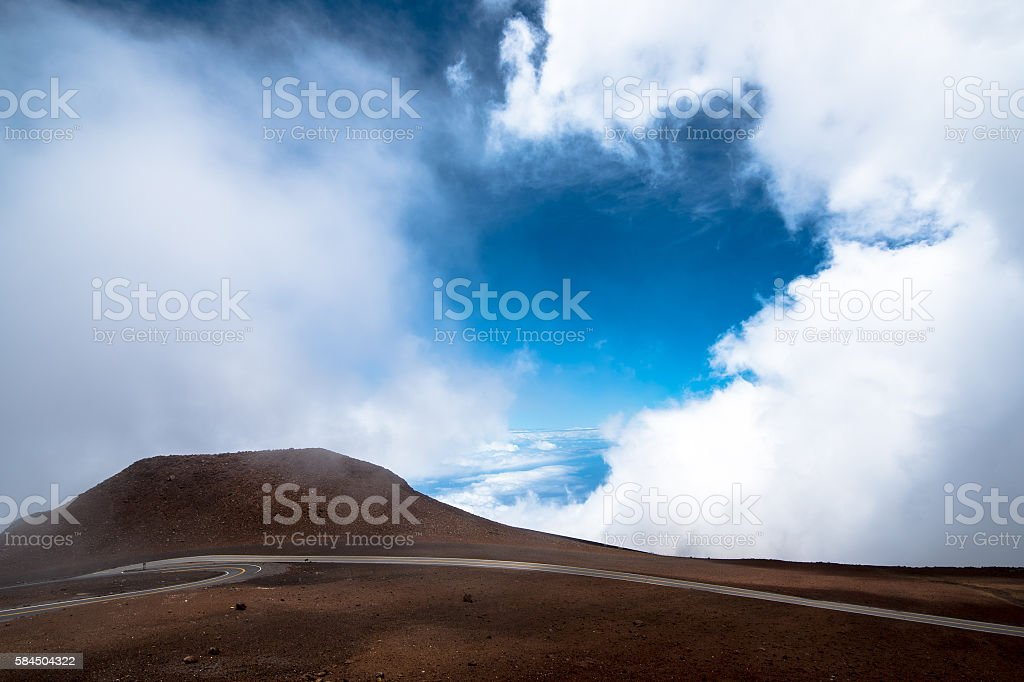 Road at Haleakala Summit, Maui stock photo