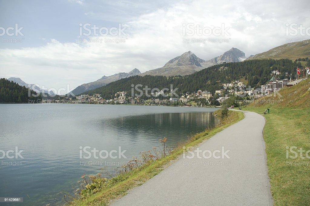 Road at St. Moritz Lake royalty-free stock photo