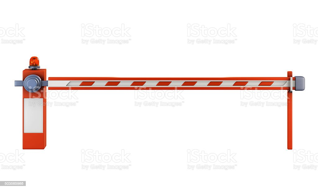 Road barrier isolate on white background. stock photo