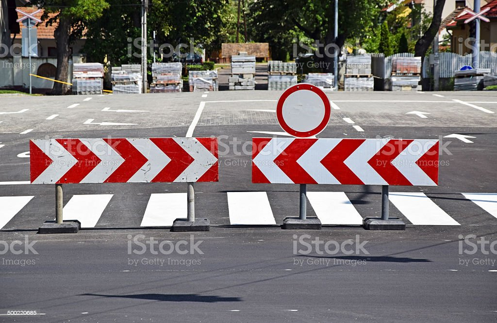 Road barrier stock photo