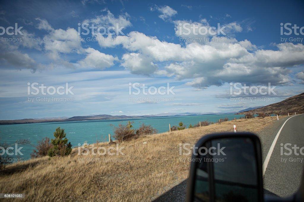 Road beside Lake Pukaki, South Island, New Zealand stock photo