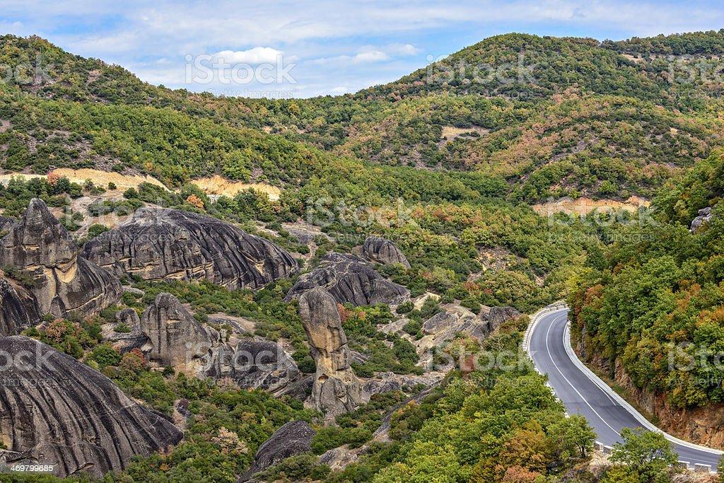 Road between Meteora rocks stock photo