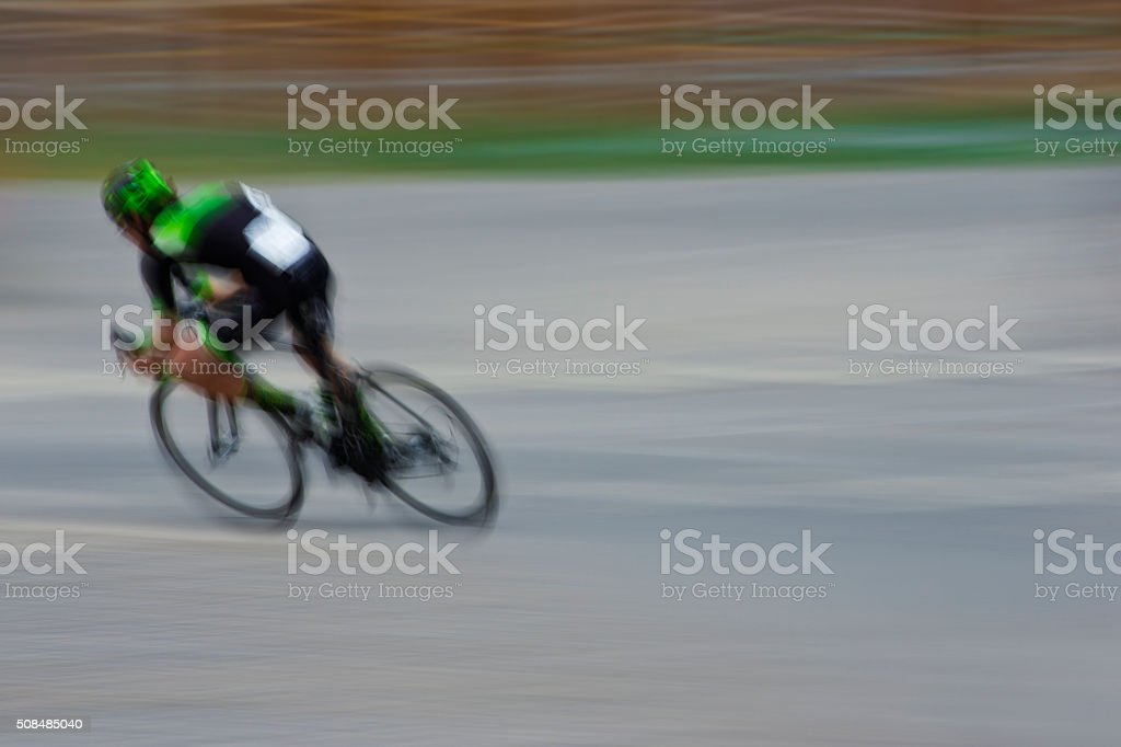 Road Bike Breakaway Rider stock photo