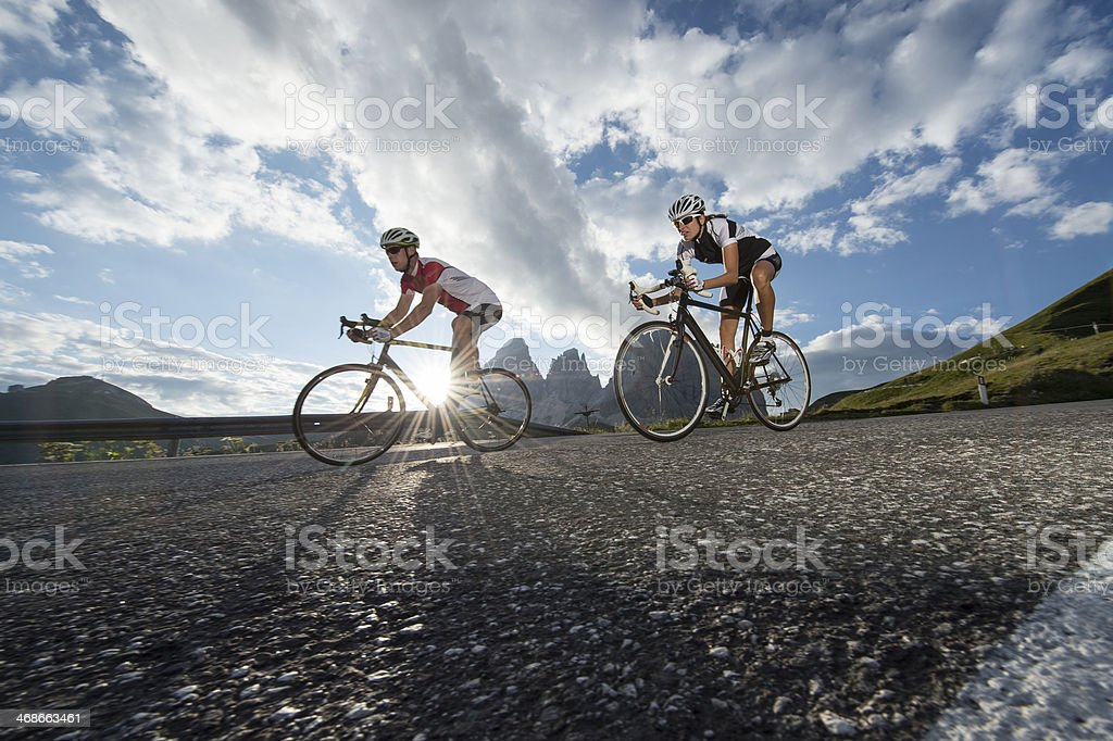 Road biking without words stock photo
