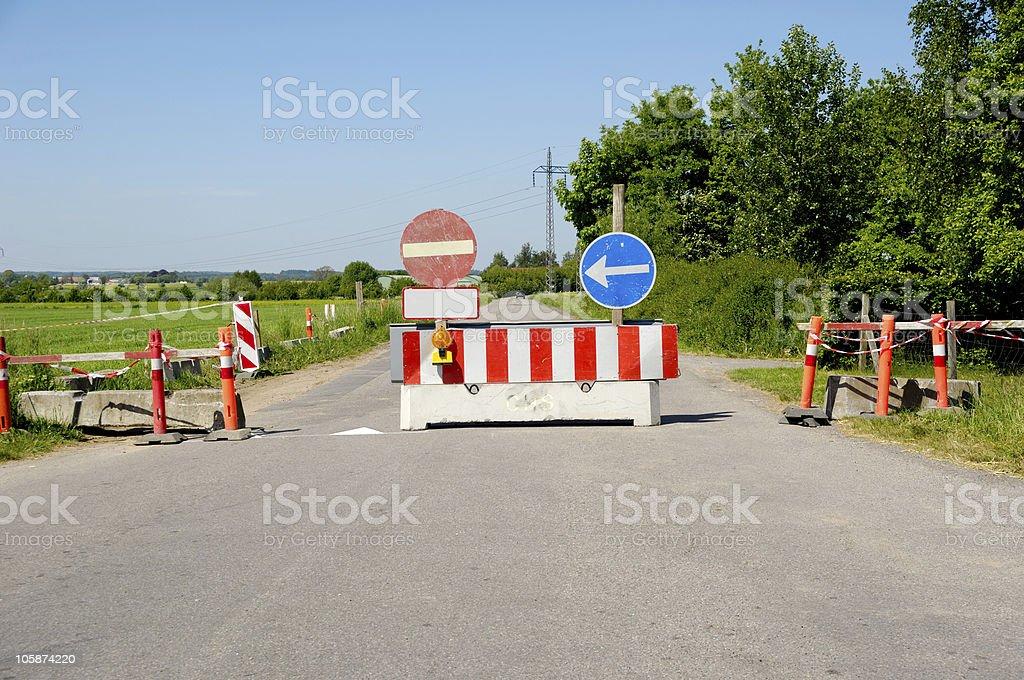 Road block stock photo