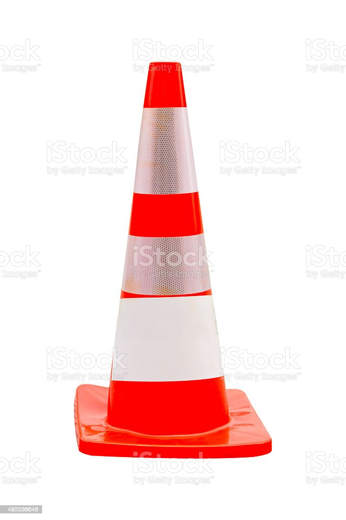 Road bollard traffic cone isolated on white background stock photo