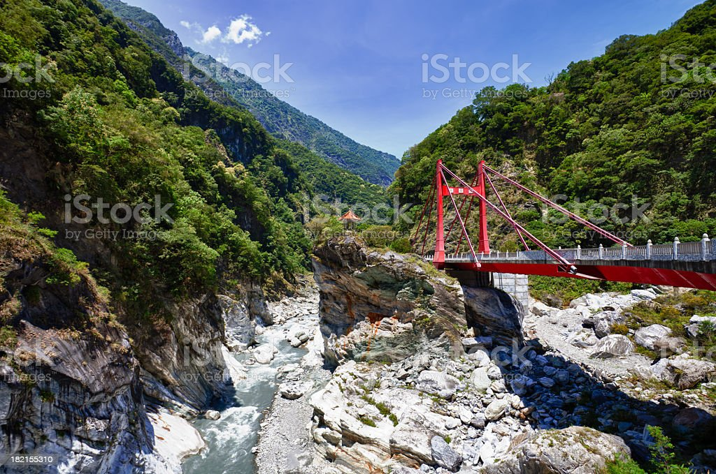 Road, bridge and tunnel crossing Taroko National Park, Taiwan gorges stock photo