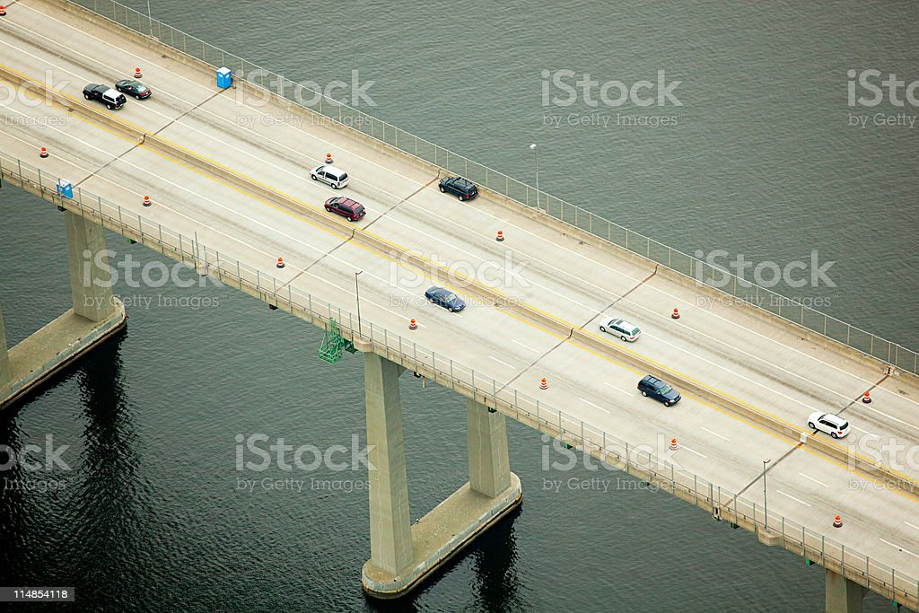 Road bridge over Narragansett Bay, Newport County, Rhode Island, USA stock photo