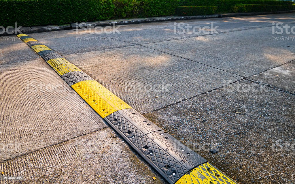 road bumps for reduce speed. stock photo