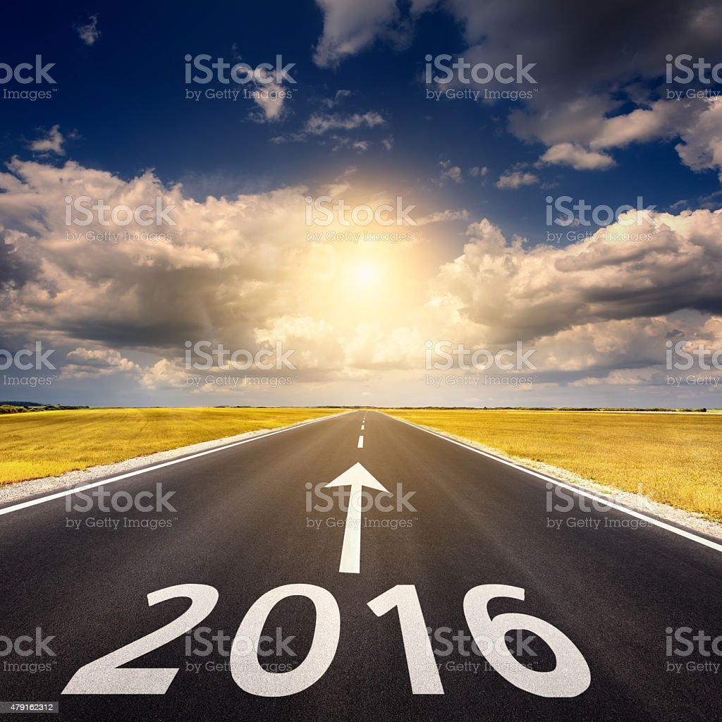Road business concept for the new year 2016 stock photo