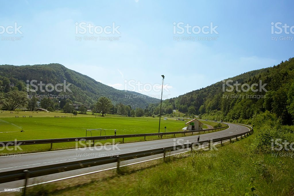 Road by the side of a Football ground royalty-free stock photo