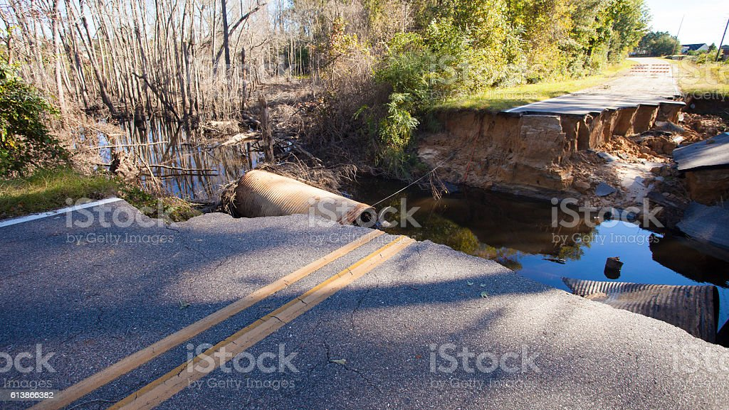 Road closed after Hurricane Matthew stock photo
