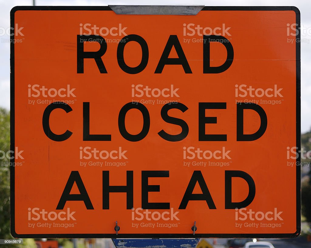 Road Closed Ahead sign stock photo