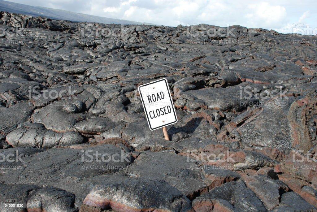 Road closed around Kilauea stock photo