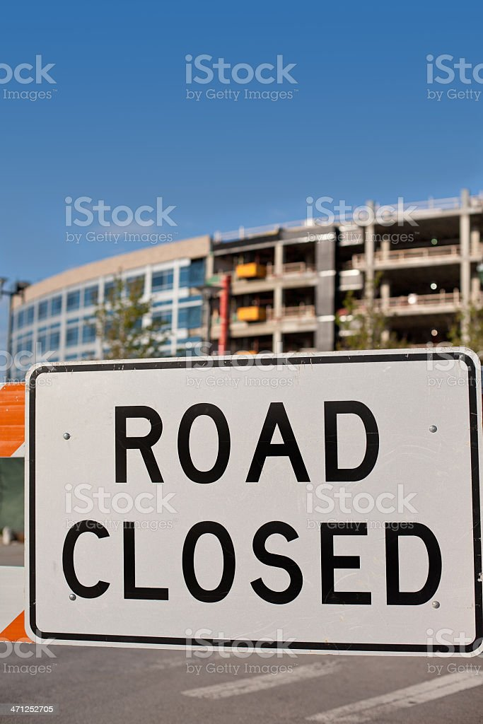 road closed at construction site stock photo