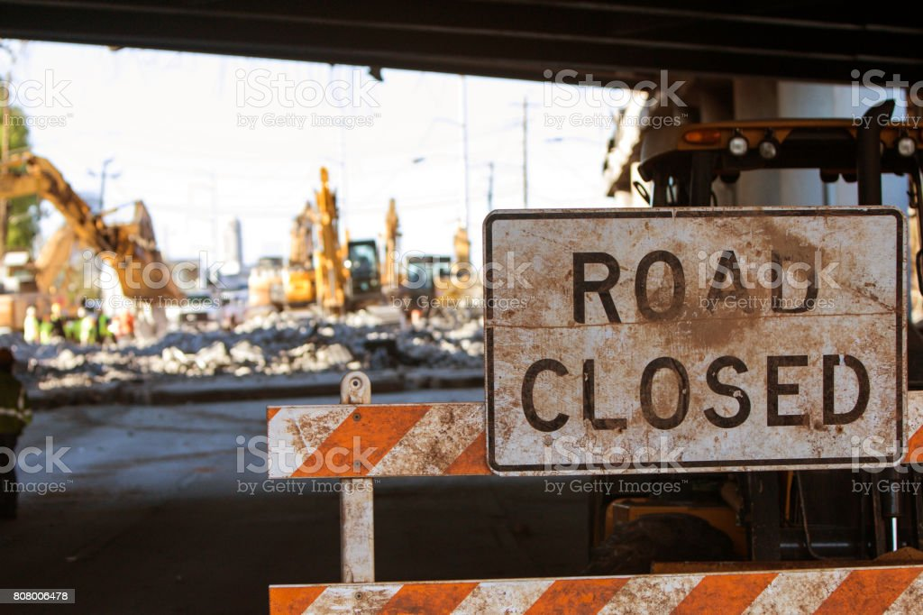 Road Closed Barricade Blocks Access To Major Interstate Construction Site stock photo