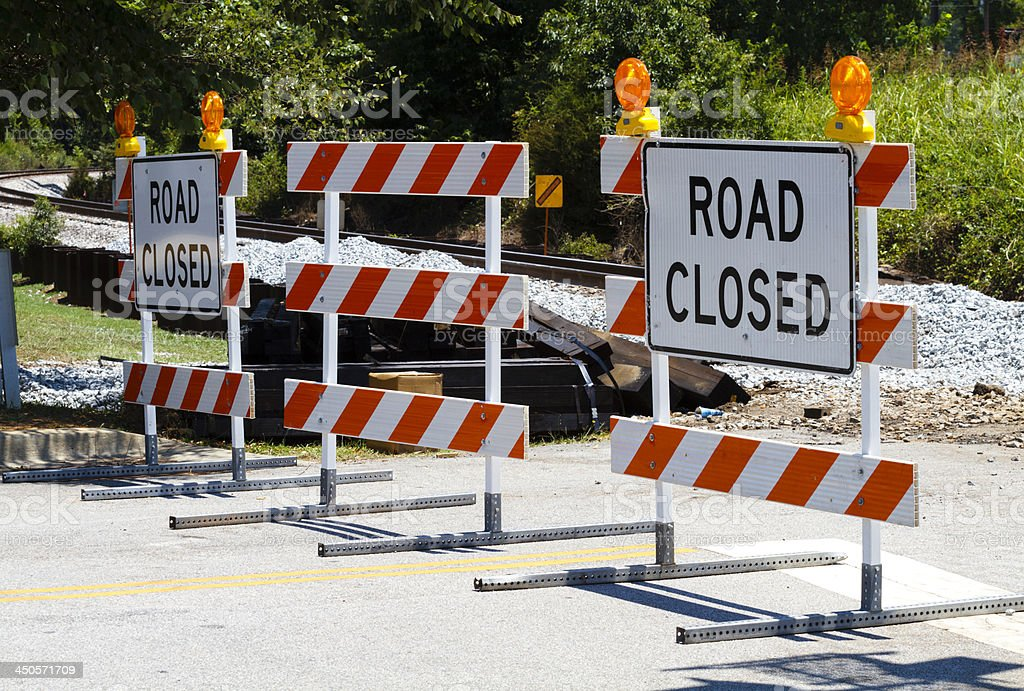 Road Closed Barricades At A Railroad Crossing stock photo