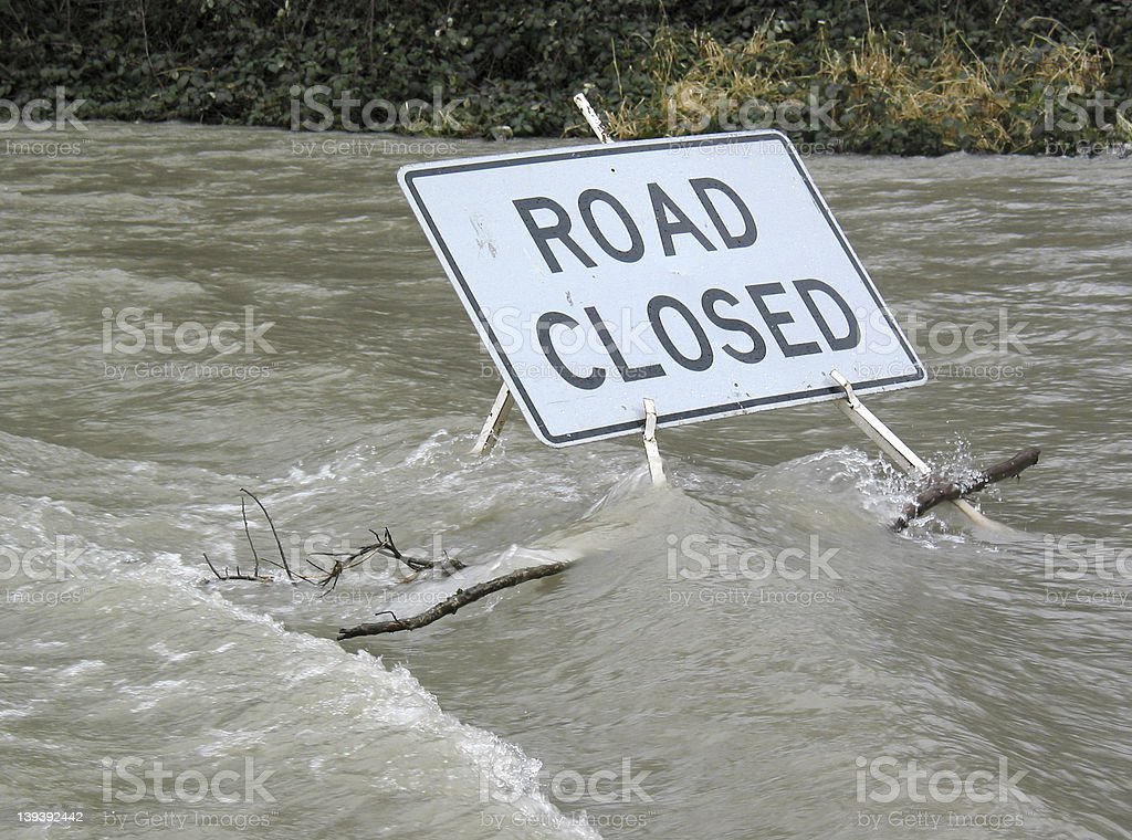 Road Closed by Water royalty-free stock photo
