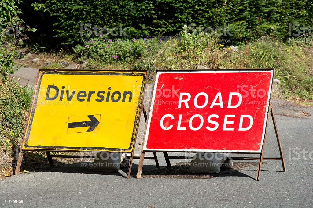Road closed diversion stock photo