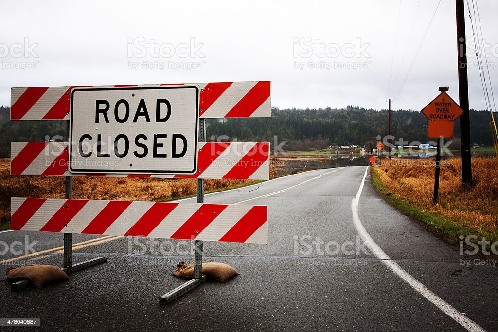 Road Closed Due To Flooding royalty-free stock photo