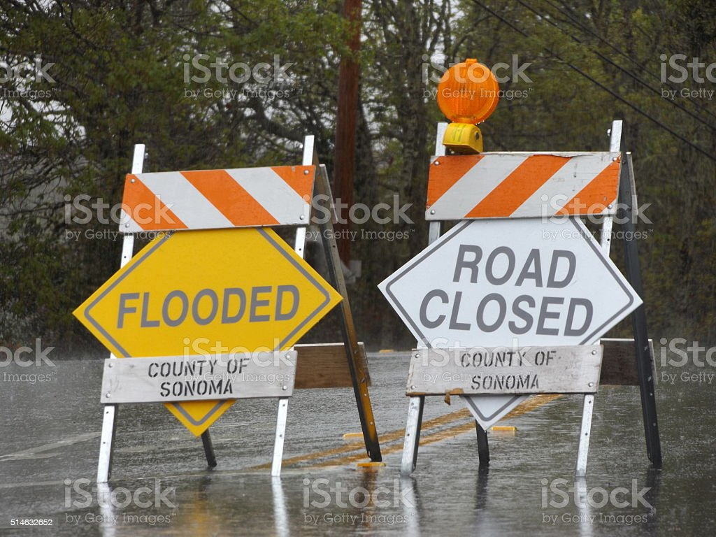 Road Closed- Flooded stock photo