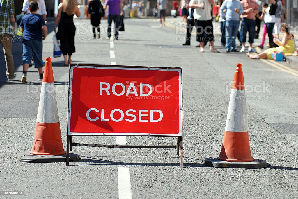 Road closed for public event royalty-free stock photo