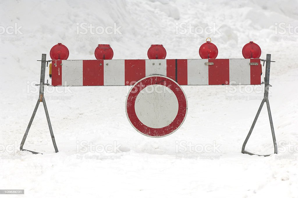 road closed in winter royalty-free stock photo