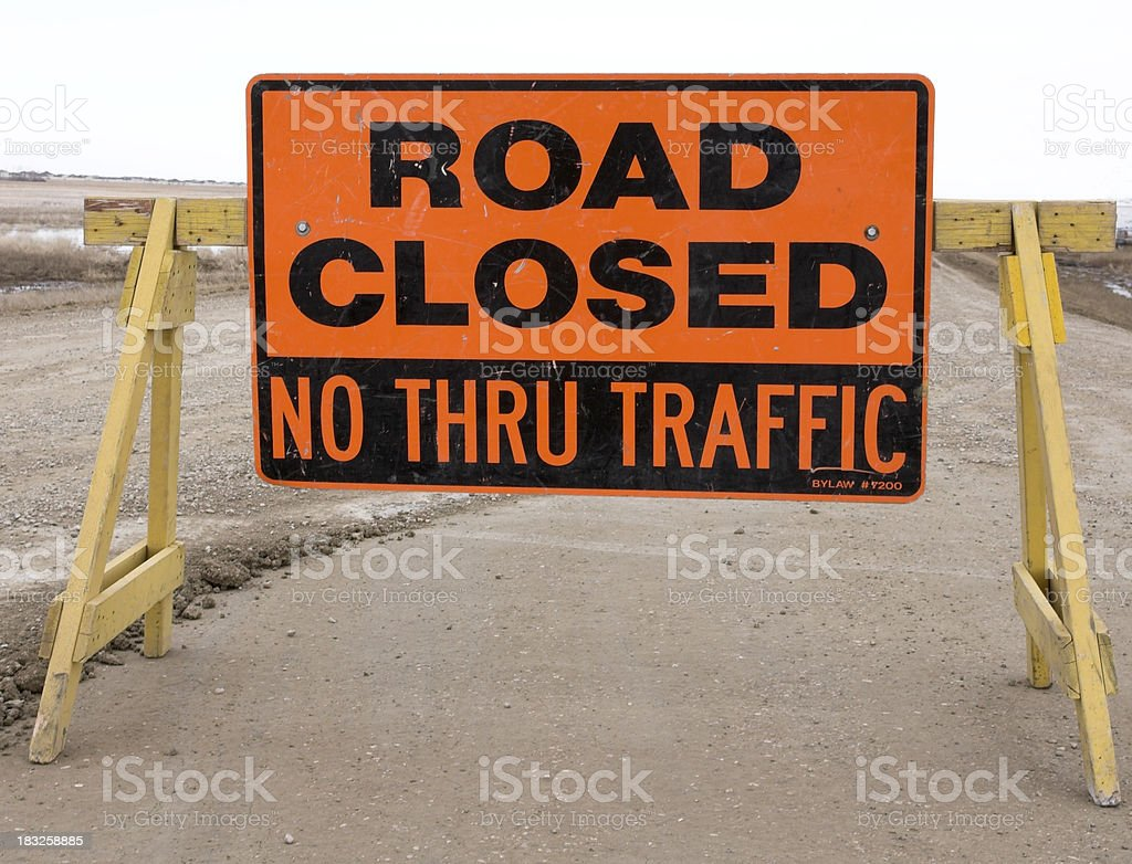 Road Closed No Thru Traffic Road Sign and Barricade royalty-free stock photo
