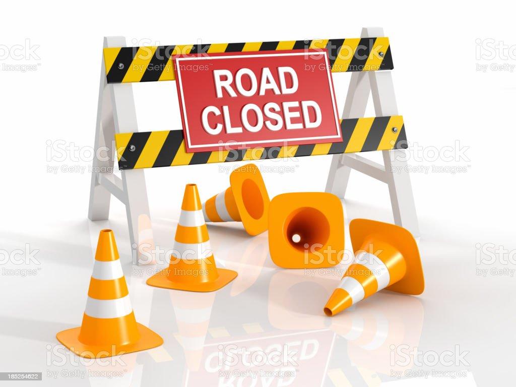 Road Closed Roadblock stock photo